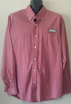 Arkansas Razorbacks NCAA Men's Antigua Button Front Shirt Striped Maroon Size M #Antigua #ArkansasRazorbacks