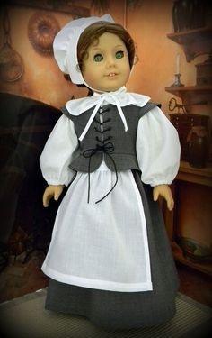 """Thanksgiving Pilgrim 6 piece outfit for 18"""" American Girl doll - by BringingJoy"""