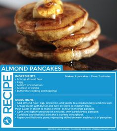 Some more pancakes! These ones use almonds instead of fruit.  More slow-carb than the banana ones.