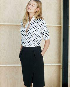 J.Crew polka-dot popover shirt and the drapey crepe pencil skirt.