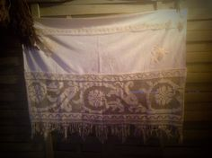 """French Cafe Curtain, Valance, Country Curtain, Cotton & Filet lace 43.5"""" wide X 33"""" long to bottom of tassels.Hem at the Top edge for rod. by fleursenfrance. Explore more products on http://fleursenfrance.etsy.com"""
