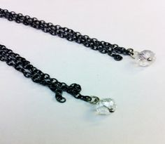 Gunmetal Chain Earrings with Crystals  long by Eldwenne on Etsy, $11.33 #etsy #etsyjewelry #earrings #handmade #crystal #silver