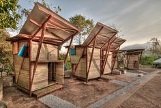 """""""Butterfly Houses"""" Small Iron Wood Prefab Houses with Butterfly Roof in Thailand Architecture Durable, Bamboo Architecture, Sustainable Architecture, Sustainable Design, Contemporary Architecture, Architecture Design, Network Architecture, Architecture Office, Prefabricated Houses"""