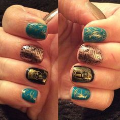 Sweet egyption nail art by @slw410 on Instagram. She's used Messy Mansion Nail Stamping Plate EDM08