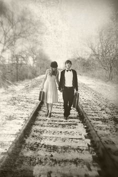 Nat & Beth's Vintage Winter Engagement Session- www.missalyssephoto.com  Like the vintage and the train tracks