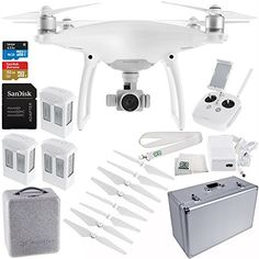 DJI Phantom 4 Quadcopter Drone w/ Manufacturer Accessories   2 Extra DJI Intelligent Flight Batteries   SanDisk Extreme 32GB microSDHC Memory Card   Aluminum Hard-Shell Case   MORE * Read more  at the image link.