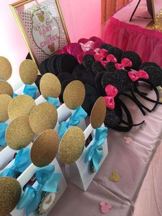 We've got ears at a pink and gold ballerina Minnie Mouse birthday party! Minnie Mouse Theme Party, Minnie Mouse 1st Birthday, Minnie Mouse Cake, Mickey Party, 1st Birthday Party For Girls, Birthday Party Decorations, Birthday Parties, 2nd Birthday, Birthday Ideas