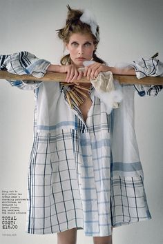 Malgosia Bela dressed in a tea towel dress, designed by Peter Jensen, for a More Dash Than Cash shoot in the November 2009 issue. Photo By Tim Walker/Vogue