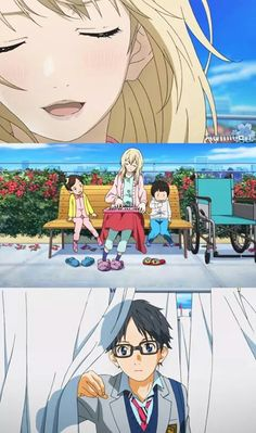 "Episode 18. Kaori playing ""Twinkle Twinkle Little Star"" on the pianica with the kids at the hospital. -- Anime, Your Lie In April, Shigatsu wa Kimi no Uso, moments, scenes, music, feels"
