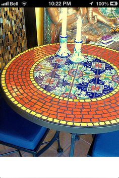 Mosaic table top-pick some of these up at the flea market