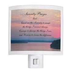 #photo - #Serenity Prayer Pink Seascape Photo Night Light
