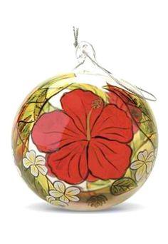Hawaiian Tropical Christmas Hand-painted Glass Ornament