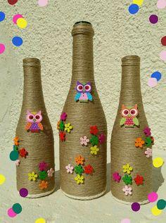 Decor Glass Bottle Crafts, Wine Bottle Art, Diy Bottle, Diy Resin Crafts, Jute Crafts, Handmade Crafts, Art N Craft, Craft Stick Crafts, Jar Art