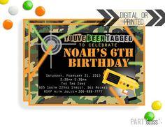 Laser Tag Black Neon Birthday Party Printable Invitation Tween Boy