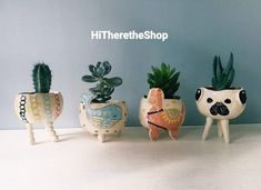 The Very Fun Collection 2 Ceramic handmade succulent pot image 0 Ceramic Pinch Pots, Ceramic Plant Pots, Cactus Ceramic, Clay Planter, Cactus Plant Pots, Succulent Pots, Peyote Beading Patterns, Pottery Gifts, Pottery Ideas