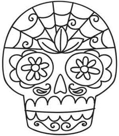 Embroidery Designs at Urban Threads - Sugar Skull Cross Stitch Embroidery, Embroidery Patterns, Hand Embroidery, Wedding Embroidery, Sugar Skull Design, Sugar Skull Art, Sugar Skulls, Skull Coloring Pages, Halloween Embroidery