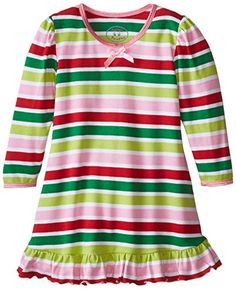 Saras Prints Baby Girls Puffed Sleeve Nightgown Fresh Christmas Stripe 18 Months * Check out this great product.
