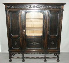 """Antique China Cabinet Bookcase - I would love to """"shabby"""" this up. Vintage China Cabinets, Big Houses, Bookcase, Shabby, Antiques, Cupboards, Ebay, Furniture, Tables"""