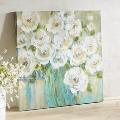 Peonies are the perfect pick for a bouquet and equally as beautiful placed up on the wall. Add our hand-painted peonies to your decor for a soft, fresh touch that enhances any interior style. Abstract Canvas Art, Canvas Artwork, Easy Landscape Paintings, Canvas Wall Decor, Oil Painting Flowers, Unique Wall Art, Painting Inspiration, Flower Art, Bouquet