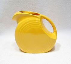 "Vintage Fiesta Ware Bright Golden Yellow Pitcher Homer Laughlin Pottery Retro 6"""
