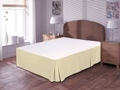 """BEIGE • Utopia Bedding Pleated Bed Skirt 100% Combed Cotton, Quadruple Pleated Design, Fabric Base Allows for Natural Draping, 15"""" Fall Covers Legs and Bed Frame (Twin, White) -"""