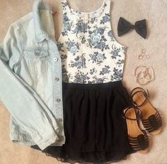 Adorable crop top and short with a jean jacket. Would probably switch out the sandals or sneakers.