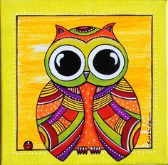 """Tableau de """"Lulu"""" la petite chouettes aux grand yeux : Décorations murales par sylphide Madhubani Art, Madhubani Painting, Elephant Art, Owl Art, Sylphide, Owl Mosaic, Kids Art Galleries, Art Rupestre, Rajasthani Art"""