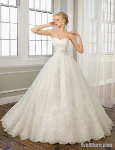 Eve Allure Lace Ball Gown Strapless Catheral/Royal Train Wedding Dress with Beading $208.99 - I really like the overall look of this but maybe not quite as poofy