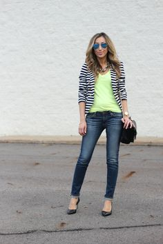 Neon tee and striped blazer