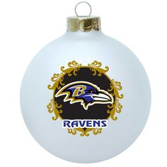 Baltimore Ravens NFL Large Collectible Glass Ornament (3.25 in diameter)
