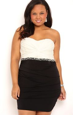Plus Size Strapless Homecoming Dress with Stones and Shutter Skirt