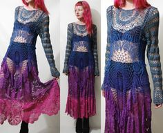 Crochet Dress VINTAGE LACE Blue Purple Pink OMBRE Long Sleeve Maxi Sheer Grunge Gypsy Bohemian Hippie ooak Handmade xs s m