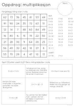frk linn: til de litt større kidsa Teaching Math, Maths, Teaching Ideas, Multiplication Worksheets, Classroom, Teacher, Education, School, First Grade