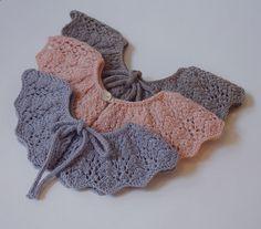 Ravelry: Alchemilla collar / Maríustakkur pattern by Svanhildur Astthorsdottir Baby Clothes Patterns, Baby Knitting Patterns, Lace Knitting, Crochet Lace, Crochet Collar Pattern, Knitted Baby Clothes, Girls Fashion Clothes, Lace Collar, Knitting For Kids