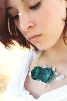 turquoise and silver one of a kind silk flower necklace