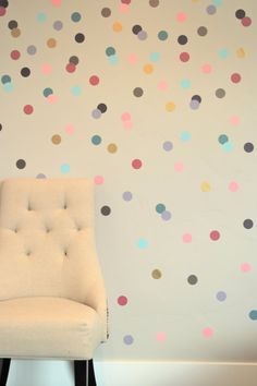 Confetti Polka Dot Wall Decals - Girly Brights and Bronze and Gold Metallics