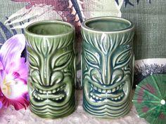 Tiki Mugs- 1950s Hawaiian- Set of 2 With Handles