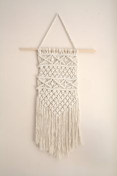 Ready to ship handmade macrame small wall hanging, boho home decor, tissage mural, macrame tapestry, macrame home decor, boho wall hanging by WallKnot on Etsy (null) $10
