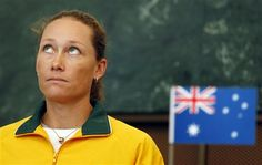 """""""Why me?""""    Australia's Samantha Stosur looks up during the draw for their World Group first round Fed Cup tennis match against Czech Republic in Ostrava, Czech Republic, Friday, Feb. 8, 2013. (AP Photo/Petr David Josek)"""