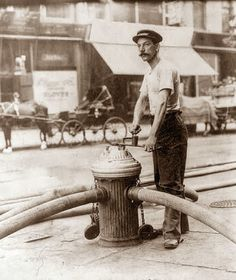 A New York City fireman, operating a high pressure fire hydrant that is attached to several water hoses -July ~ {cwlyons} ~ (Original Image: The George Bain Photographic Collection - via The LOC) Vintage Pictures, Old Pictures, Old Photos, Vintage Images, Us History, American History, Photographie New York, American Firefighter, Fire Dept