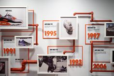 I went to this museum exhibit at the BK museum. It showed the sneaker through the ages and how it morphed into a necessity to a style icon. Museum Exhibition Design, Exhibition Display, Exhibition Space, Display Design, Store Design, Wall Design, Office Interior Design, Office Interiors, Timeline Design