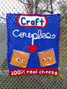 cheesy #crochet yarnbomb - Hi, Jenny Brown