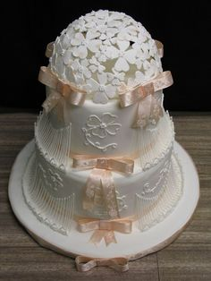 Lace Dogwood Cake With Stringwork And Dogwood Dome on Cake Central