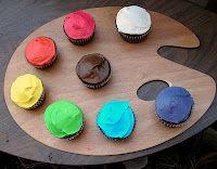 colorful cupcakes served on a paint paletteso cute! colorful cupcakes served on a paint palette Cupcake Icing, Cupcake Art, Cupcake Cakes, Cupcake Display, Cupcake Ideas, Dessert Ideas, Dessert Buffet, Mini Cakes, Cupcake Recipes