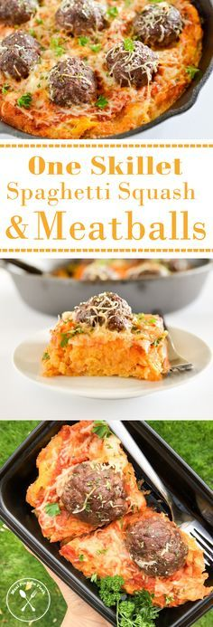 One Skillet Spaghetti Squash and Meatballs recipe.  Low carb, low calorie, paleo, meatballs recipe.  Yum