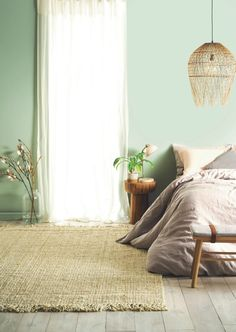 Expert Advice for Choosing Paint Colours (and actually Loving the Result! light green bedroom walls with taupe bed linen and sheer curtaisns from taubmans paint. All the help you need to make the right decision. Light Green Bedrooms, Green Bedroom Walls, Light Green Walls, Bedroom Wall Colors, Home Decor Bedroom, Bedroom Ideas, Modern Bedroom, Girls Bedroom, Light Green Kitchen