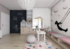 déco murale chambre fille en peinture ardoise et stickers muraux