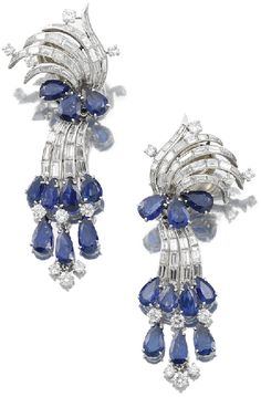 SAPPHIRE AND DIAMOND PENDENT EAR CLIPS, CARTIER.     Set with pear-shaped sapphires, brilliant-cut and baguette diamonds, pendants detachable.