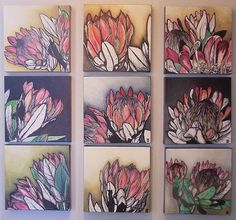 Image result for proteas paintings Protea Art, Protea Flower, Abstract Canvas Art, Oil Painting On Canvas, Watercolor Flowers, Painting Flowers, Flower Art, Art Flowers, South African Art