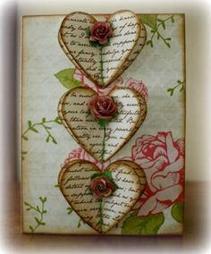 Valentine's Card (front view) - Inspiration: Valentine with vintage-y script paper punched hearts and tiny roses ~ by Renee aka Luv - Atc Cards, Card Tags, Paper Cards, Valentine Love Cards, Karten Diy, Artist Trading Cards, Creative Cards, Vintage Cards, Greeting Cards Handmade